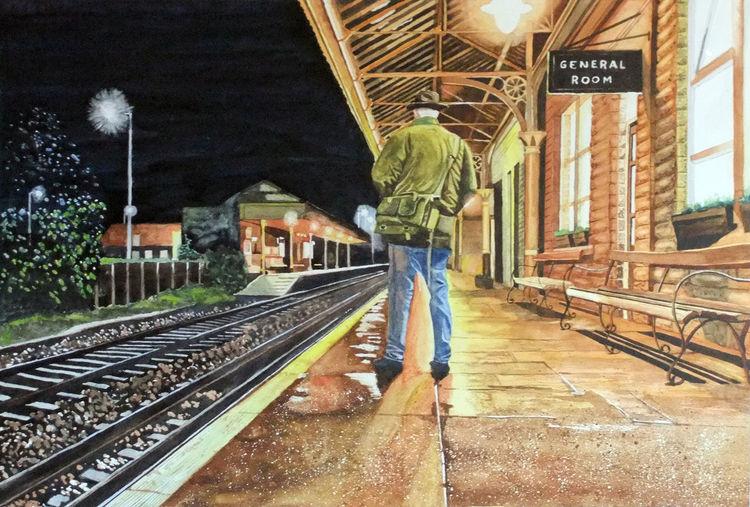 Nacht, Bahnsteig, Aquarellmalerei, Bahnhof, Licht, Schiene