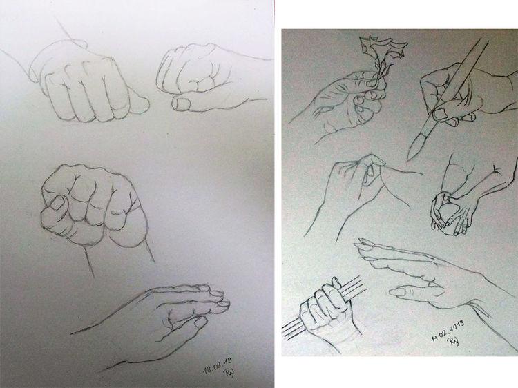 Studie, Hand, Hände, Haltung, Zeichnungen