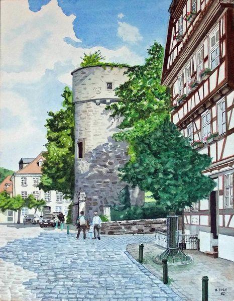 Fulda, Kanalstraße, Geburtshaus ferdinand braun, Braunsche röhre, Hexenturm, Aquarell