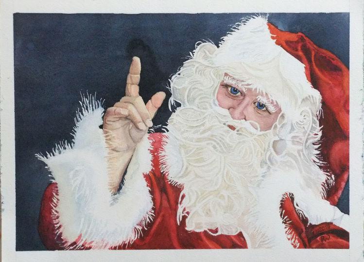 Santa clause, Zipfelmütze, Nikolaus, Bart, Aquarell