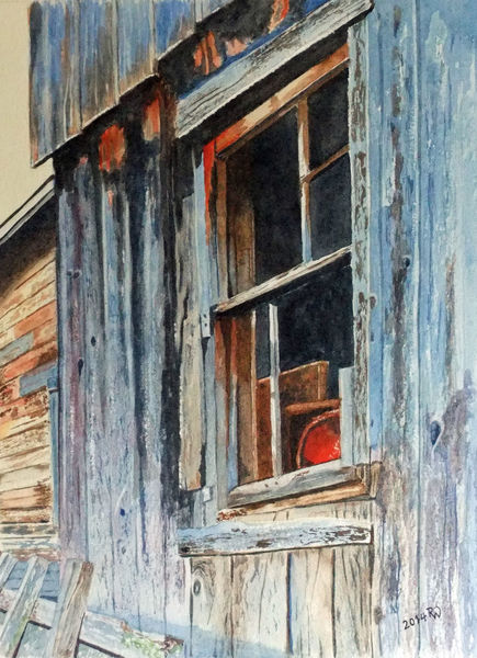 Holz, Rot, Fenster, Aquarellmalerei, Hütte, Alt