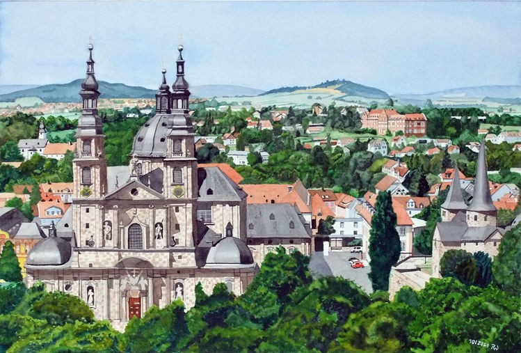 Stadtansicht, Dom, Fulda, Antoniusheim, Aquarell, Gebäude