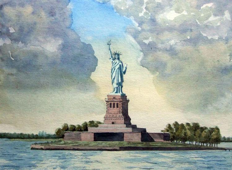 Wolkenlücke, Monument, Landschaft, Statue, Aquarellmalerei, Wasser