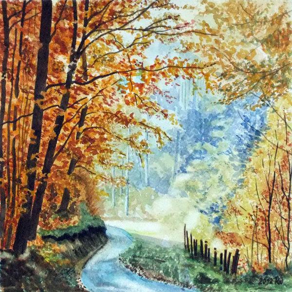Herbst, Straße, Baum, Zaun, Laub, Aquarell