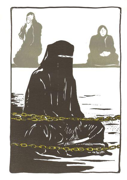 Menschen, Syrien, Frau, Damaskus, Druckgrafik,