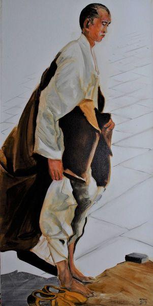 China, Menschen, Mönch, Glaube, Gebet, Malerei