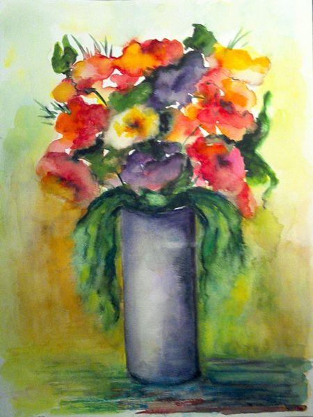 Aquarellmalerei, Pflanzen, Lila, Blumen, Stillleben, Rot