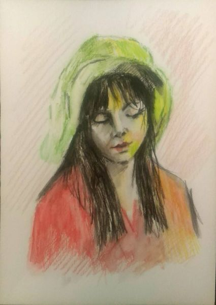 Frauenportrait, Aquarellmalerei, Frau, Portrait, Aquarell, Hut