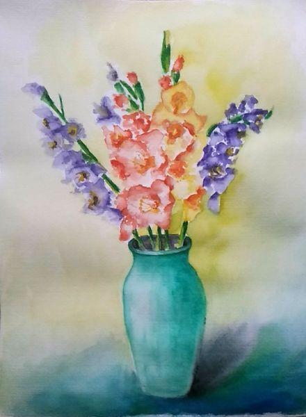 Pflanzen, Vase, Blumen, Aquarellmalerei, Stillleben, Gladiolen