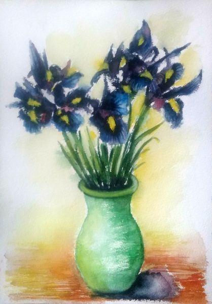 Schwertlilien, Iris, Aquarellmalerei, Blumenstrauß, Vase, Blumen