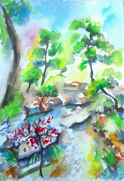 Landschaft, Baum, Stein, Natur, Japanischer garten, Grün