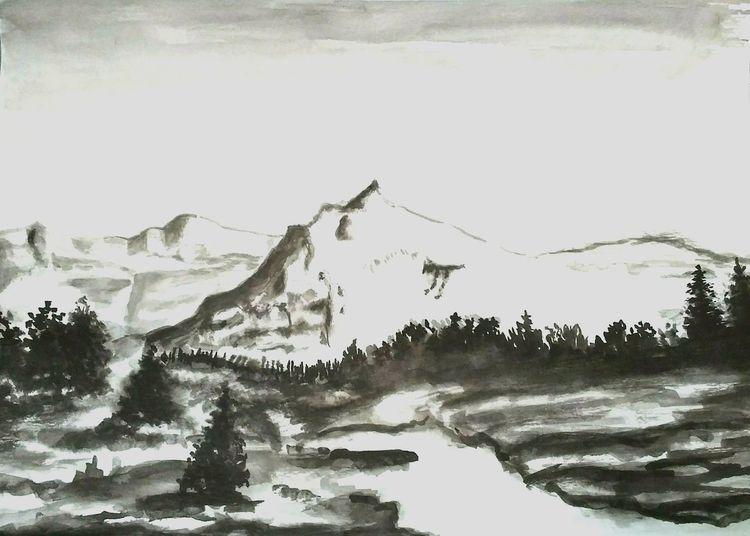 Himmel, Tuschmalerei, Tuschezeichnung, Berge, Baum, Landschaft