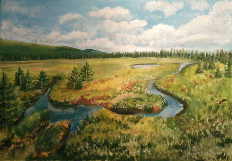Landschaft, Acrylmalerei, Berge, Baum, Wolken, Malerei