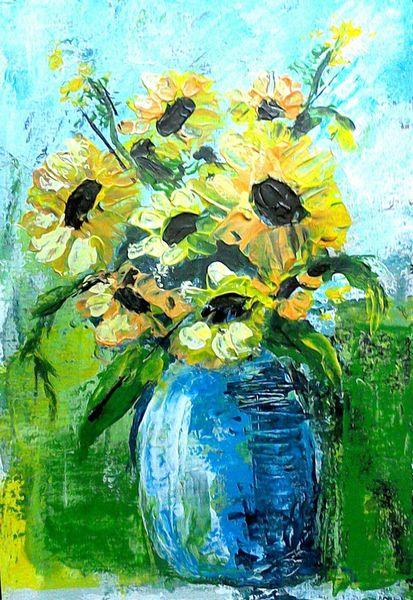 Spachteltechnik, Abstrakte malerei, Blumen, Malerei stillleben, Acrylmalerei, Pflanzen