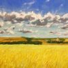 Weite, Kornfeld, Wolken, Malerei