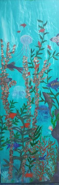 Acrylmalerei, Landschaft, Unterwasserwelt, Malerei
