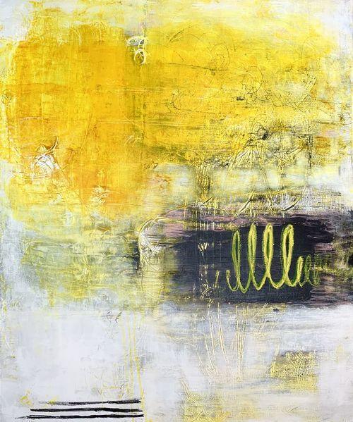 Abstrakt, Acrylmalerei, Modern art, Gelb, Malerei