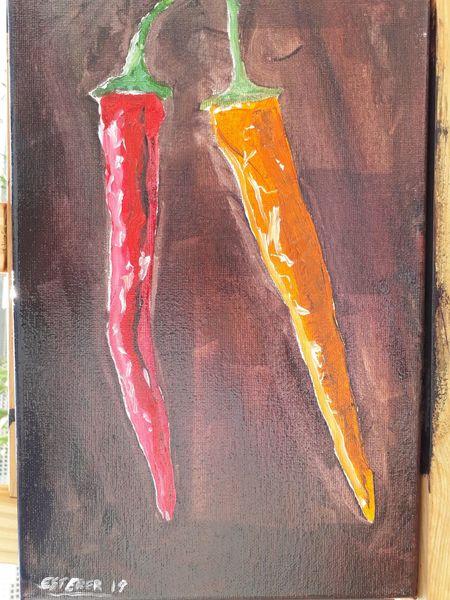 Rot, Gelb, Ölmalerei, Chili, Früchte, Paprika