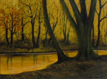 Gemälde, Modern art, Braun, Wunschbild, Herbst, Landschaft gemalt