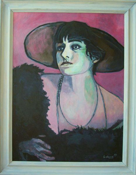 Hut, Frau, Schwarz, Malerei