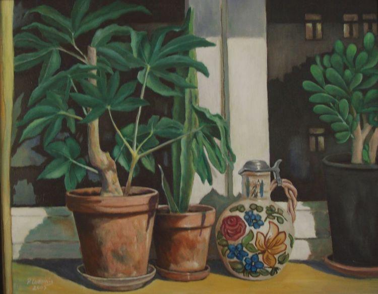 Fenster, Pflanzen, Malerei