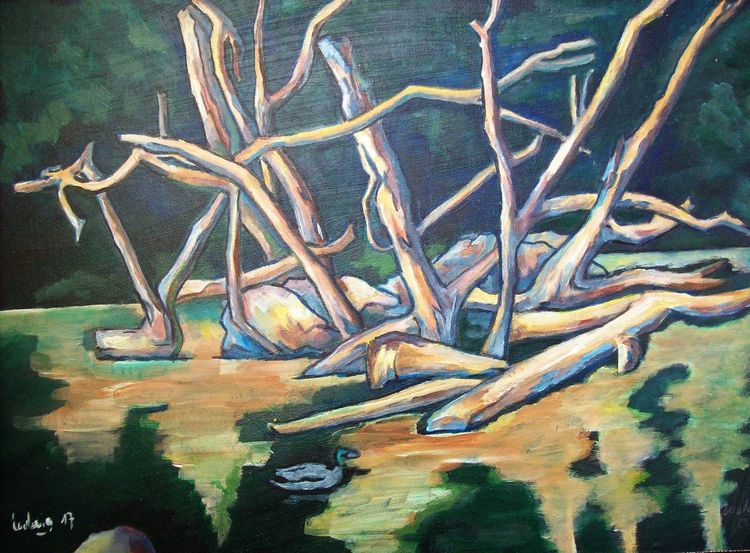 Stau, Malerei, Fluss
