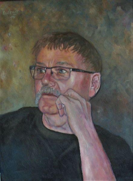 Portrait, Malerei, Mann, Bart