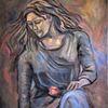Frau, Rose, Malerei