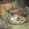 Stillleben, Flasche, Silberdistel, Malerei