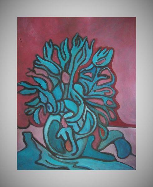 Malerei, Acrylmalerei, Pflanzen, Modern, Mischtechnik, Tulpen