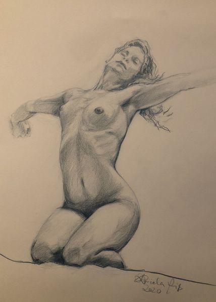 Pose, Akt, Studie, Frau, Zeichnen, Skizze