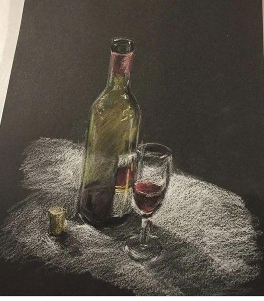 Flasche, Glas, Wein, Stillleben, Pastellmalerei, Malerei