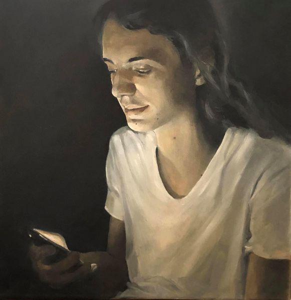 Junge, Nacht, Handy, Ruhe, Ölmalerei, Dunkel