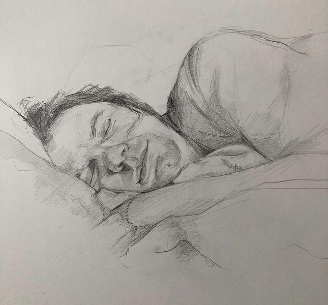 Schlaf, Portrait, Bleistiftzeichnung, Zeichnungen