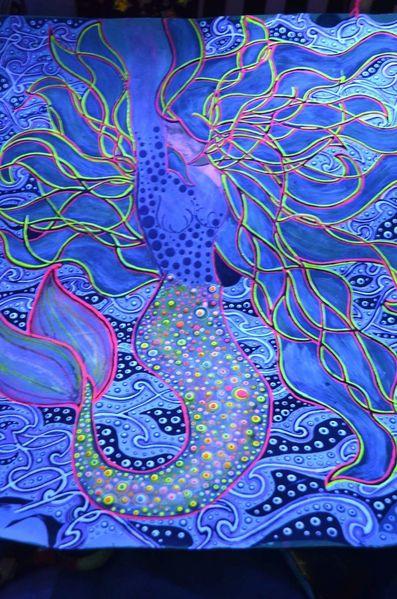 Schwarzlicht, Meerjungfrau, Malerei,