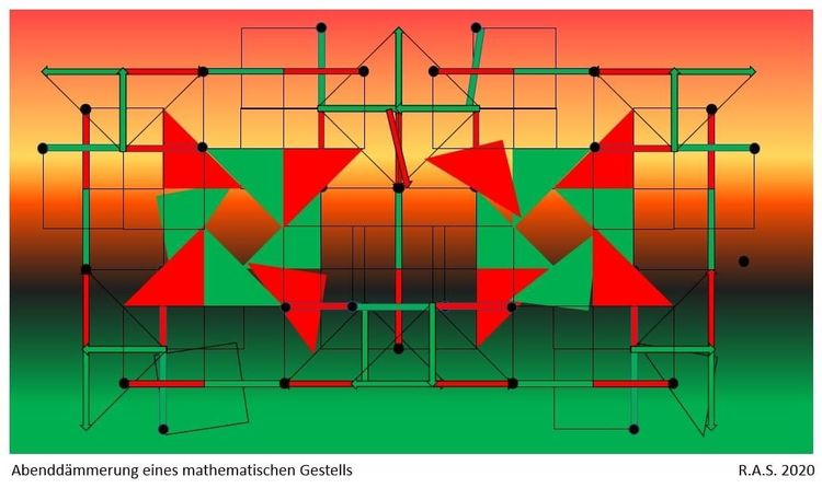 Dreiecke, Rot, Grün, Analyse, Digitale kunst