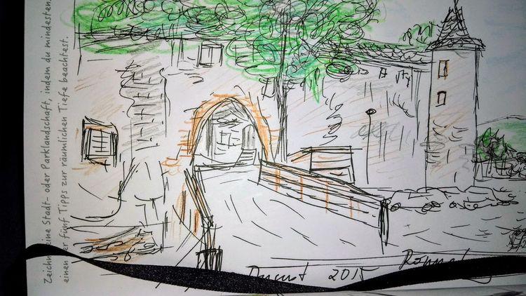 Zeichnung, Burg, Hessen, Zeichnungen