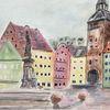 Landsberg bei regen, Aquarellmalerei, Aquarell,