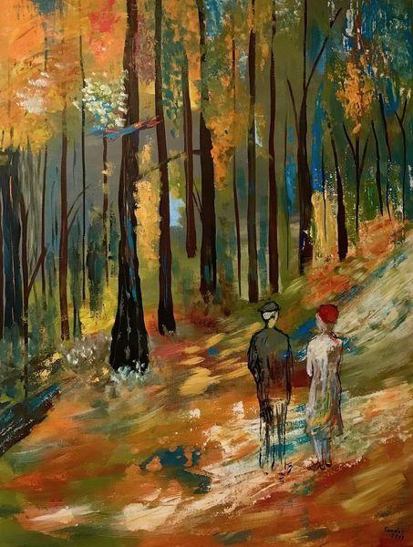 Spaziergang, Herbst, Acrylfarben, Wald, Malerei, Landschaft und natur