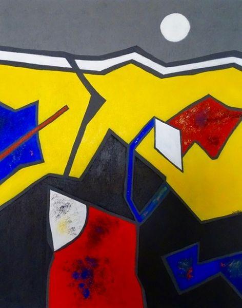 Abstrakt, Weißer mond, Acrylmalerei, Malerei, Mond