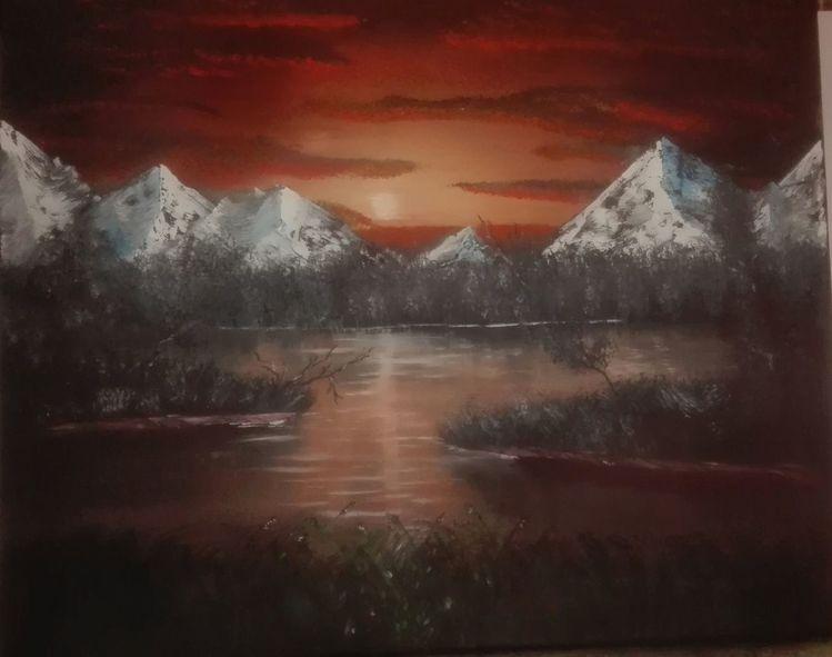 Sonnenuntergang, Landschaft, Berge, Malerei, See, Skandinavien