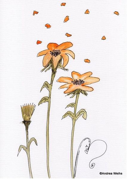 Blumen, Landschaft, Aquarellmalerei, Landschaft malerei, Aquarell
