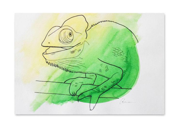 Figur, Grün, Malerei, Gelb, Tiere, Aquarellmalerei