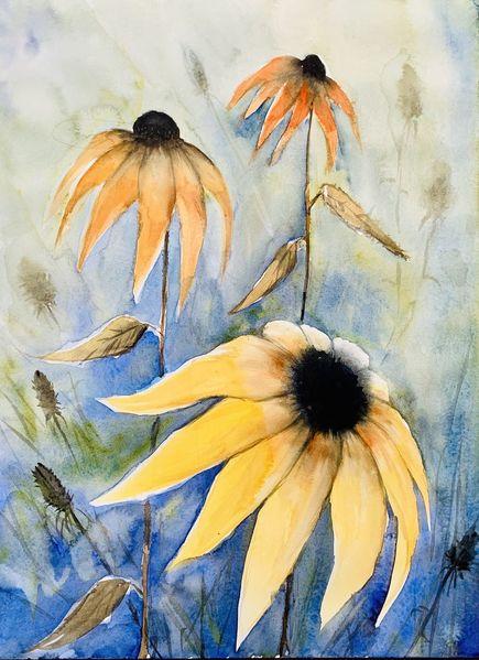 Malerei, Landschaft malerei, Blumen, Aquarellmalerei, Pflanzen, Gelb