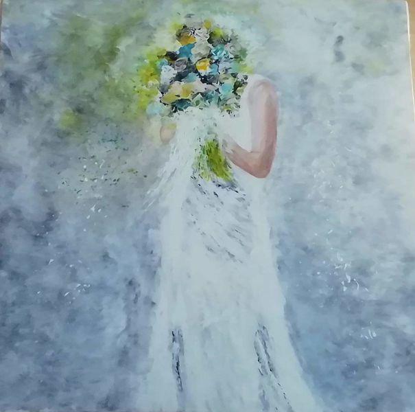 Acrylmalerei, Frau, Malerei, Braut, Blumenstrauß