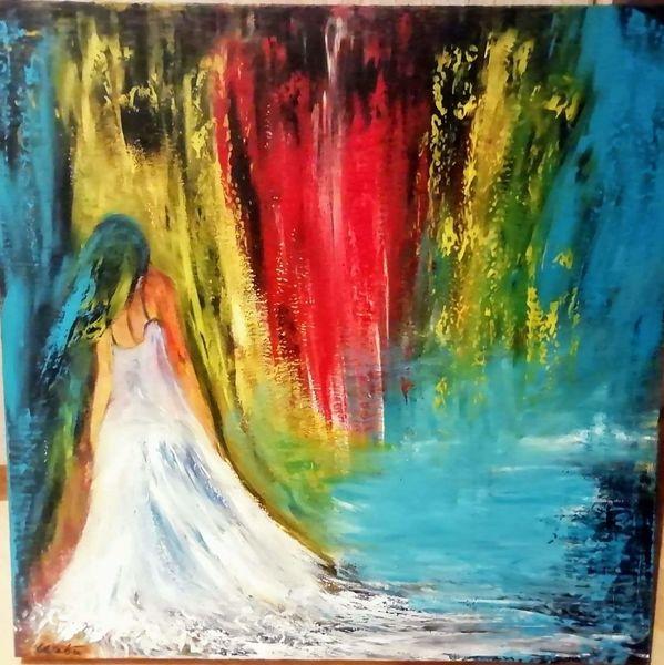 Fantasie, Malerei, Frau, Acrylmalerei, Wasser, Farben