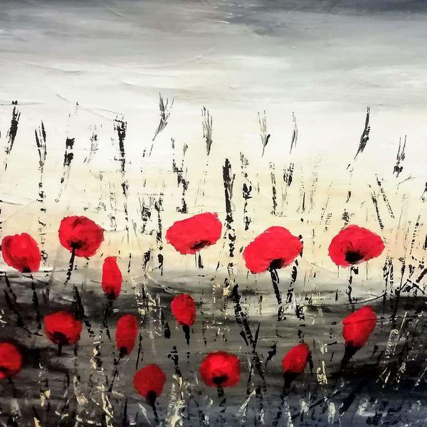 Blumen, Acrylmalerei, Korn blume, Malerei, Mohnblumen