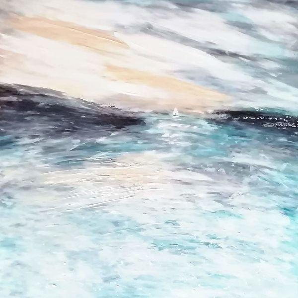 Horizont, Acrylmalerei, Segelboot, Malerei, Wasser