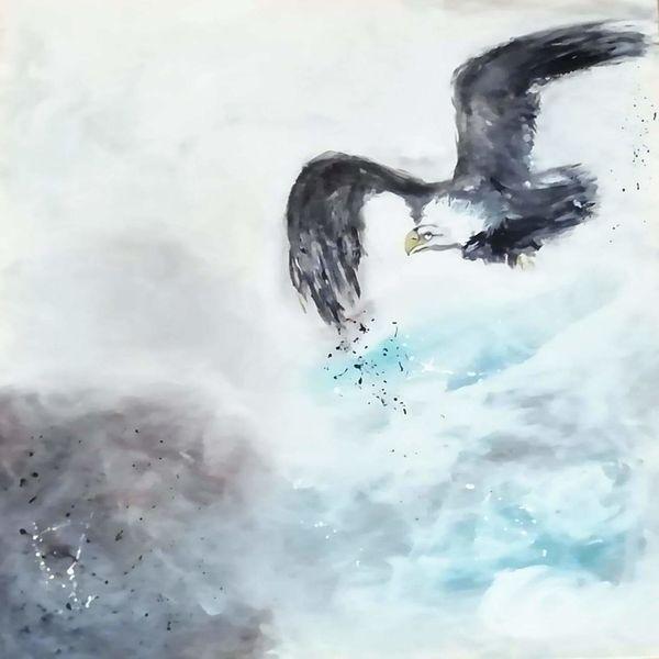 Landschaft, Acrylmalerei, Vogel, Malerei, Wolken