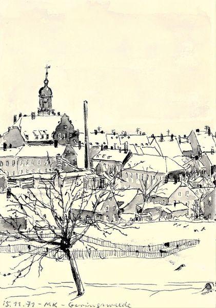 Winter, Sächsisch, Martha krug, Iger jahre gezeichnet, Kleinstadt, Zeichnungen